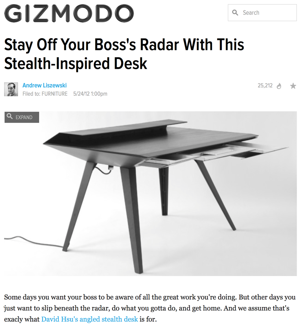 Desk 117 featured on Gizmodo