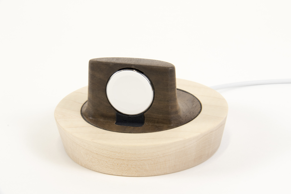 The Saucer for Apple Watch: Walnut core with Maple ring