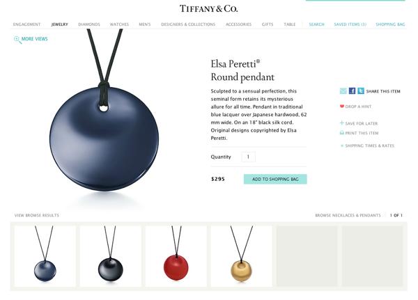 Elsa Peretti Round pendant for Tiffany