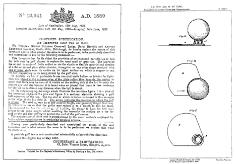 British Patent #12941 of 1889, for William Bloxsom and Arthur Douglas