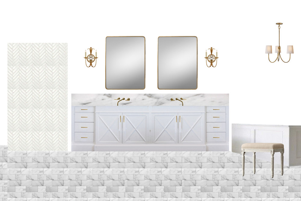 In the master bath, they wanted a light palette, using mostly white and marble.