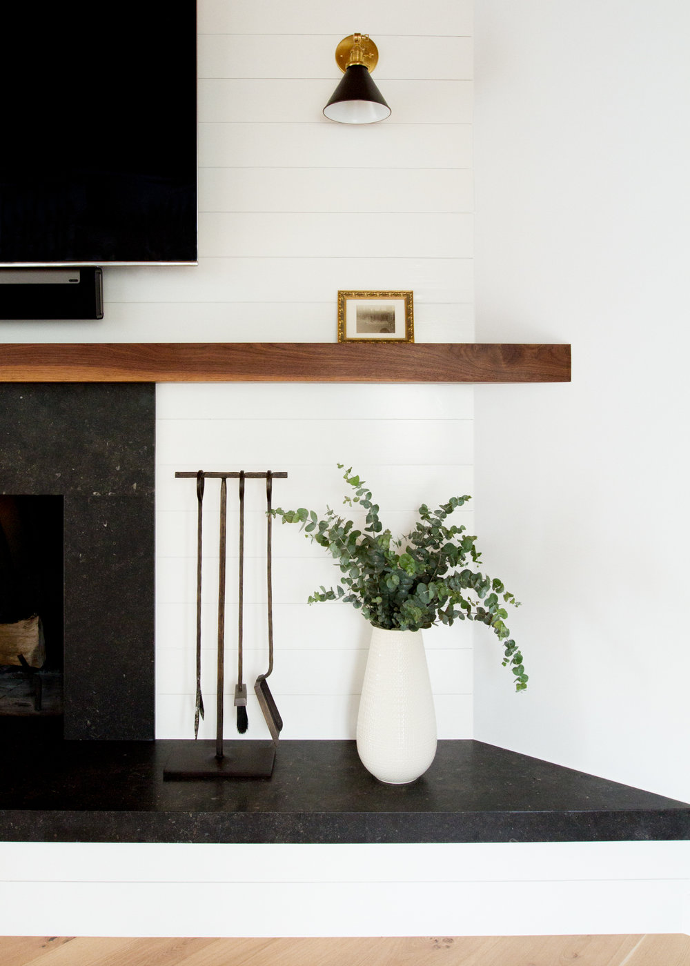Topanga Canyon Modern Farmhouse Fireplace Redesign - Lauren Bradshaw Design