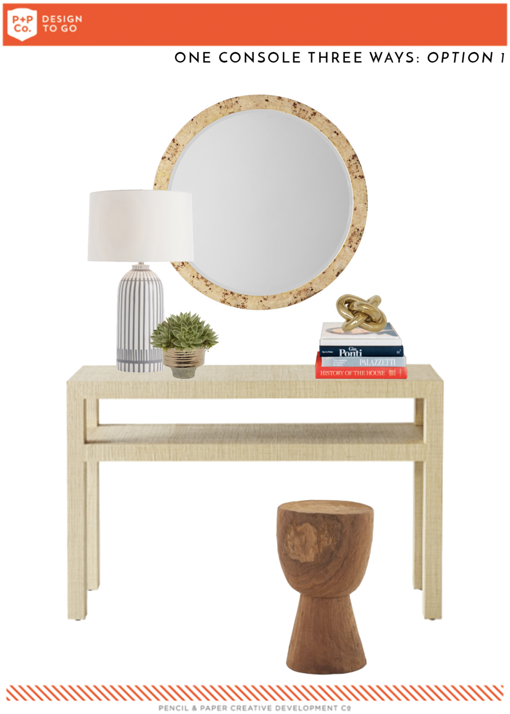 Burl wood mirror  |  Lamp  |  Stool  |  Brass knot  |  Succulent