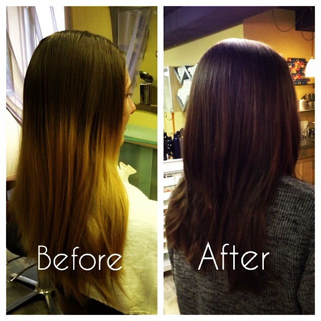 Before and after, done yesterday by @the_soozq #hair #annarbor