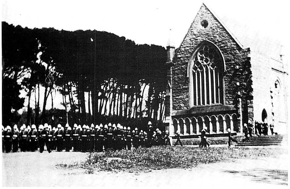 Garrison on parade outside St John's Church, circa 1900