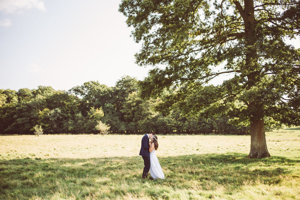 Bride and Groom standing in a field kissing at Knepp Castle Estate Horsham