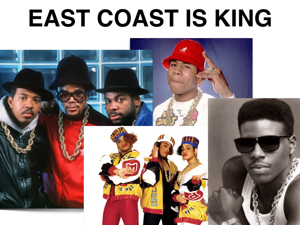(Left to Right) Run DMC, Salt n' Pepa, LL Cool J, Schooly D (who claims to have invented snowboarding as a kid in Philly)