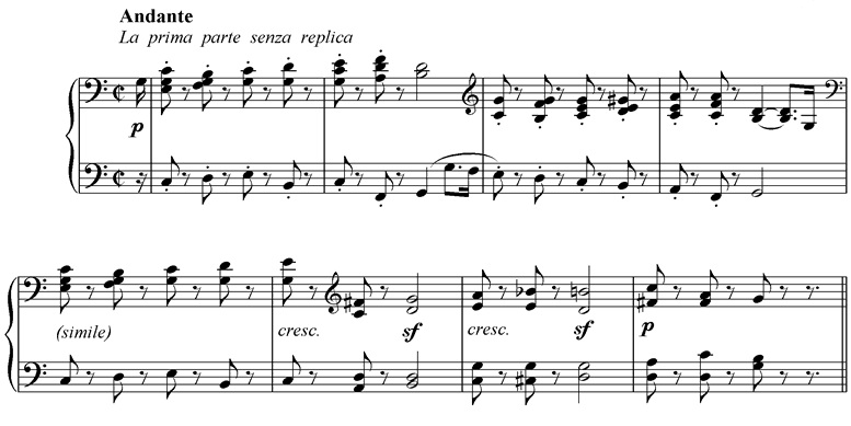 The opening bars of the 2nd movement of Beethoven's  Sonata, Op. 14 No. 2