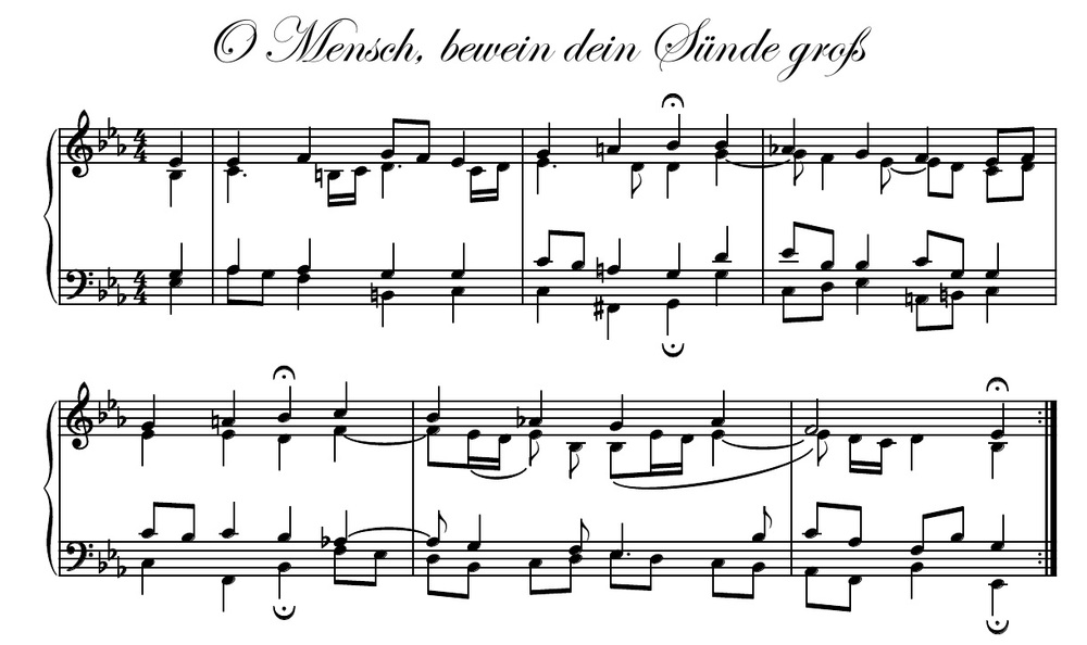 BachScholar's engraving (un-fingered) of the opening six bars of Bach's well-known Chorale,  O Mensch, bewein dein Sünde groß (BWV 402),  which consists of a total of 24 bars.   Considered by many to be Bach's finest chorale, the pianist who can sight-read this chorale well is an exceptionally gifted sight-reader while the pianist who can play this chorale well with intelligent fingerings, good pedaling, and fine expression is a rare breed of pianist. Being able to play a harmonically advanced chorale such as this is a much more practical and marketable skill to possess than playing predominantly scales, arpeggios, and 19th-century etudes.  The pianist who can play chorales such as this in a tasteful and artistic fashion with good fingerings, smooth  legato  touch, and clean pedal changes is a fully mature pianist. Recommended tempo: quarter note = 48 beats per minute.