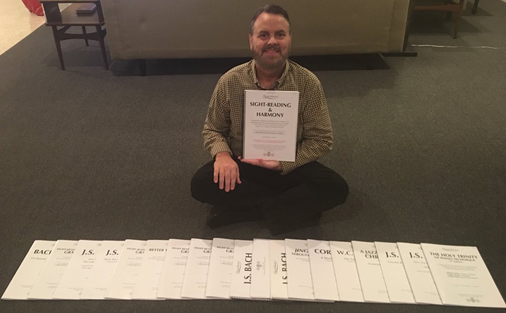 Cory with the latest BachScholar® Edition books