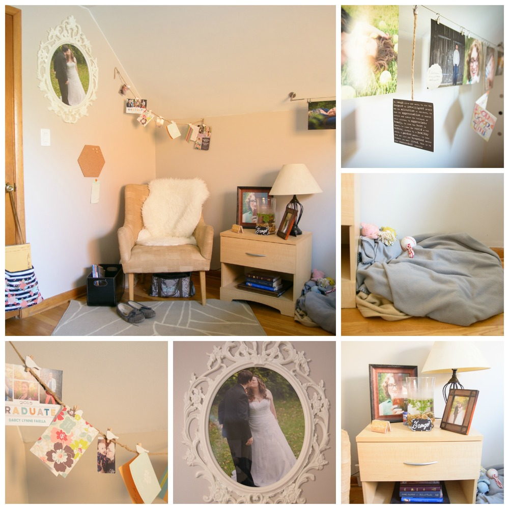 Right next to the door as you walk in I have my chair where I have my TAWG. I have thank you notes from my awesome clients and a picture from my wedding. There is also a place for Tirzah to sleep and on the end table is Tango the betta fish!