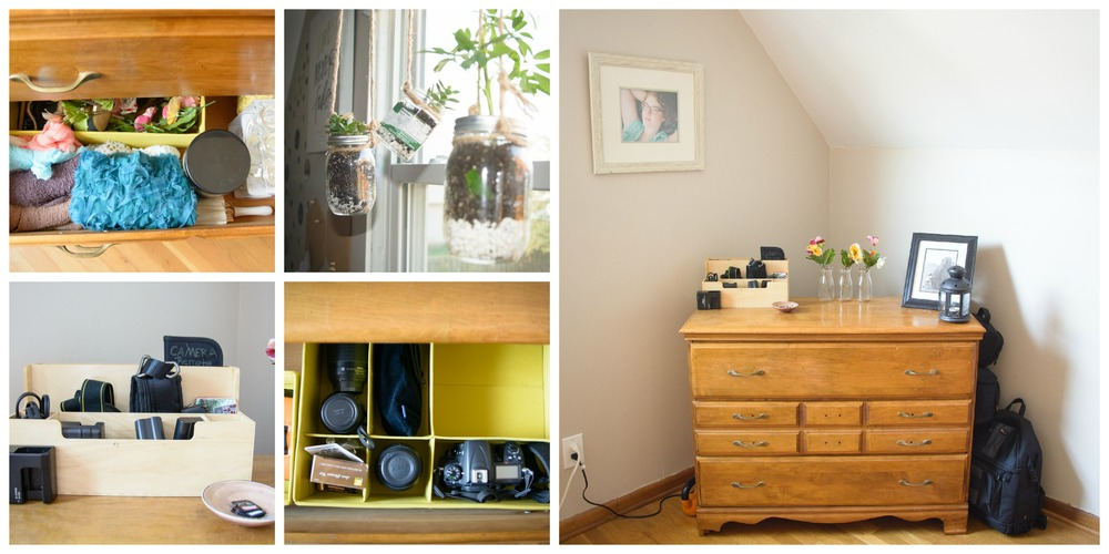 This is where I store all my photography equipment and some props. I also used some old glass jars as planters... a little something I found on pinterest :)