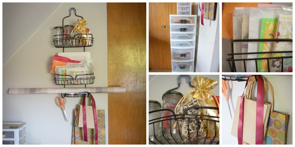 I have a gift wrapping station that holds cards, tissue paper, tape, and accessories.