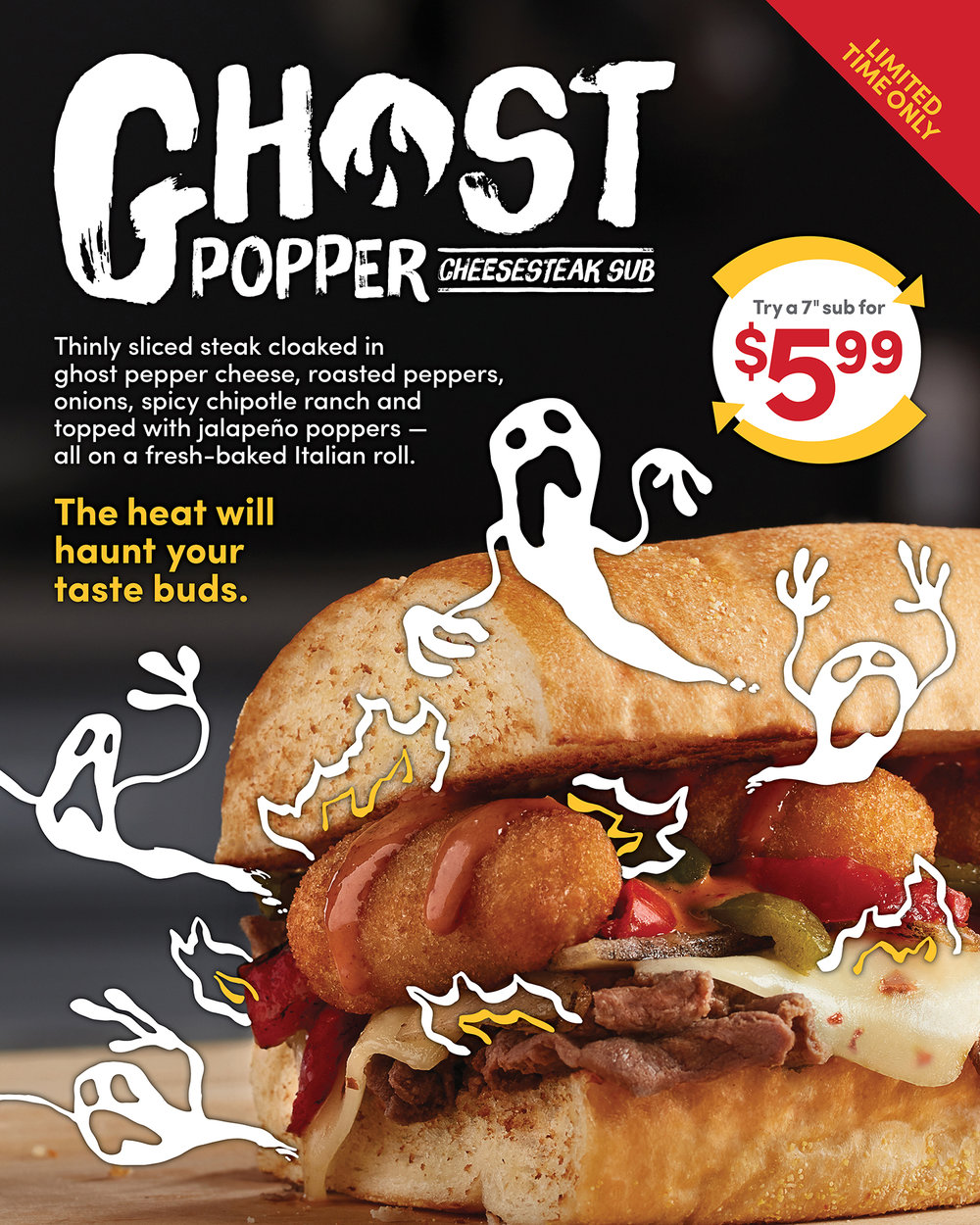 Ghost Popper Cheesesteak Sub