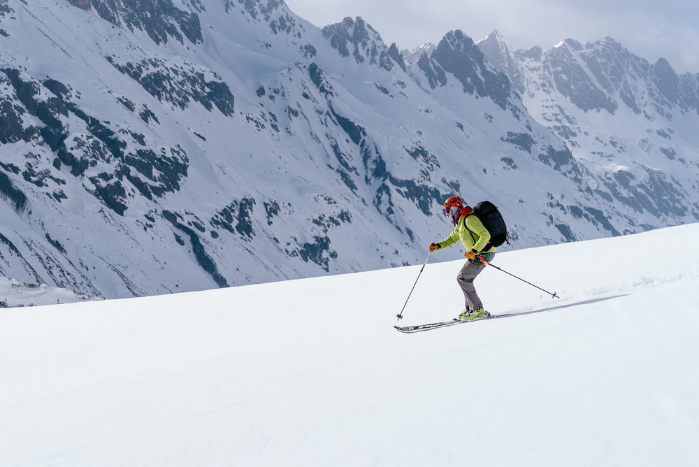 Jake Beren leading us to untracked lines on Jeff Bank's Silvretta Tour.