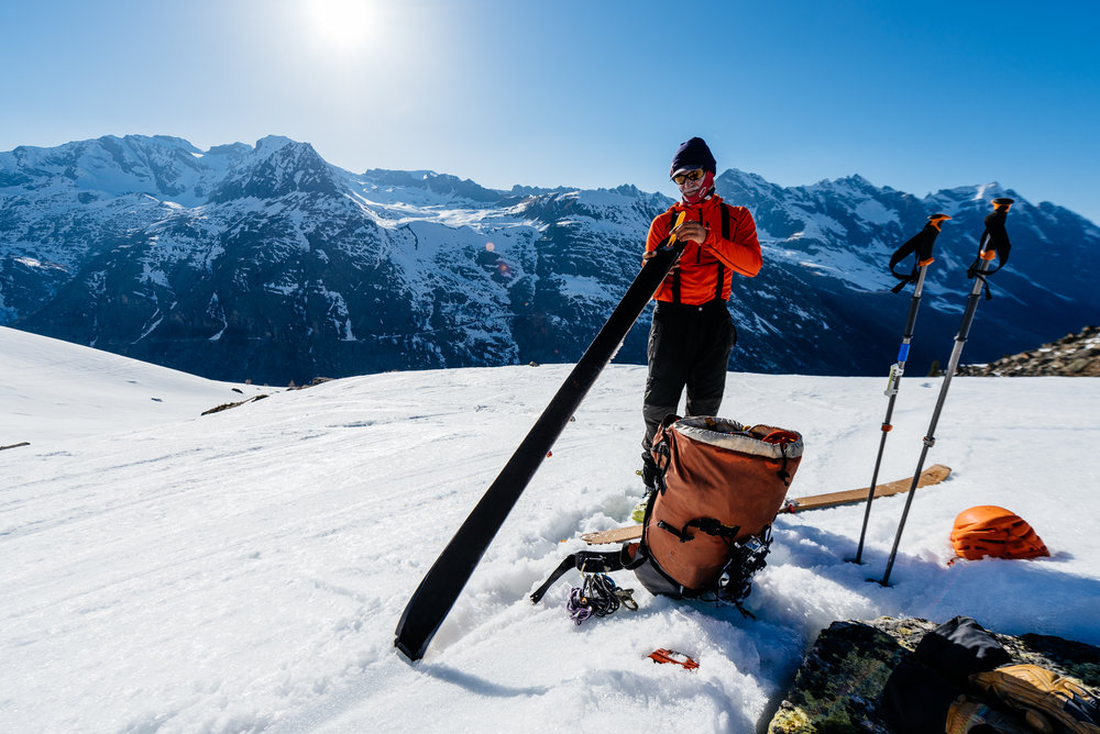 """Jeff Banks is transitioning from """"touring mode"""" to """"downhill mode"""" by pulling his skins on a guided ski-mountaineering climb of Italy's Gran Paradiso, which is a great introductory objective."""