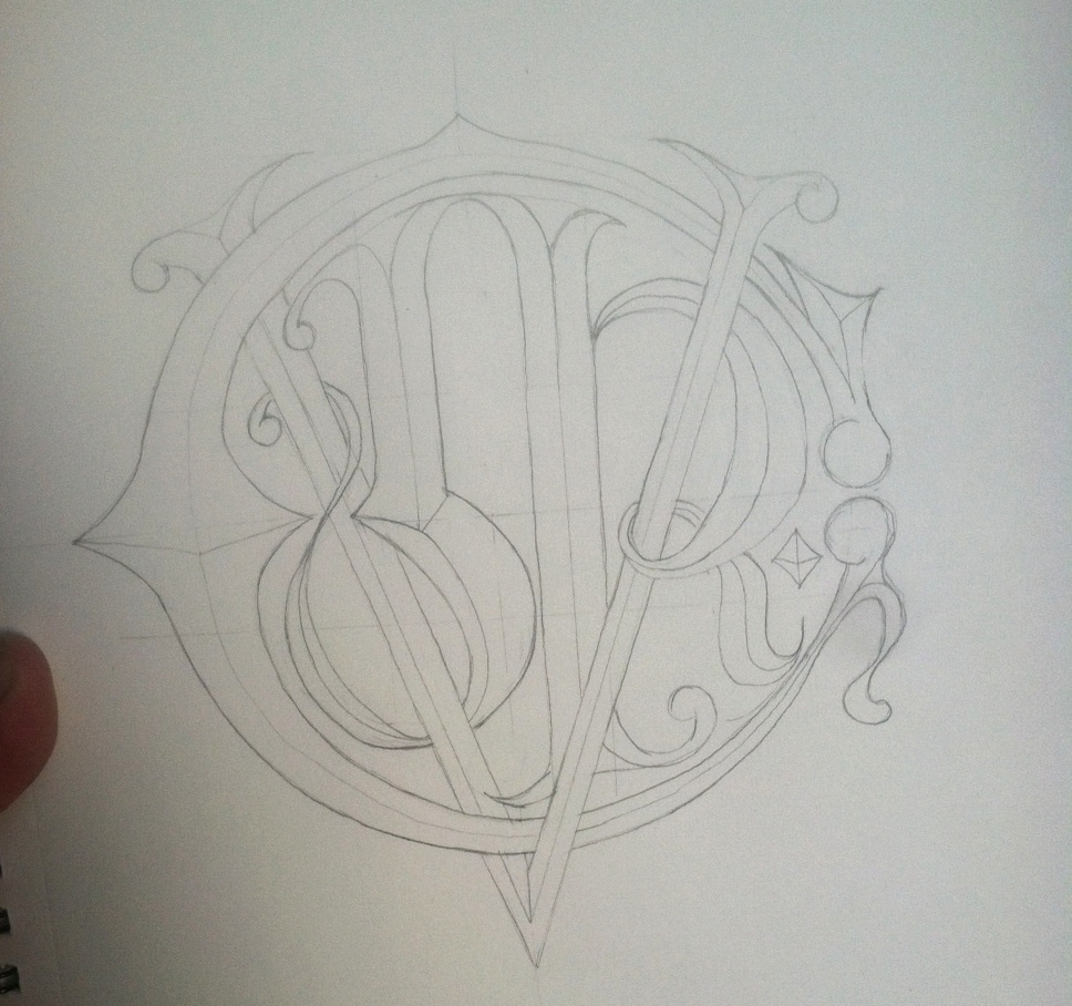 Adam Stockton's hand drawn monogram concept.