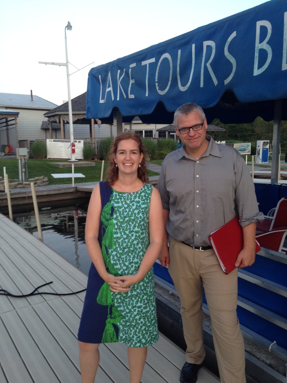 Jeff Kenney, Culver Academies Historian with Kathy Taylor, Indiana Historical Society Photo Librarian, after the 2017 Vonnegut House Boat Tour