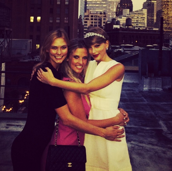 TAYLOR SWIFT   Taylor Swift was spotted wearing The Crowning Glory crystal headband from Dauphines of New York while in NYC; photographed alongside model Karlie Kloss and sister Kimby Kloss.