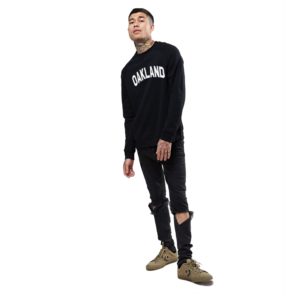 Sky Oak Co_Oakland_Block_crewneck_v-notch_black_model.png