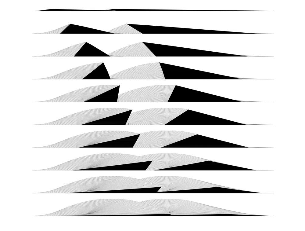 program:  400 meter lang og 25 meter høy skulptur i snø   beliggenhet:  ukjent  det negativet rommet på hver side av et dobbeltkrummet stykke bjørk hentes ut ved gipssøtp.  resultatet er to former som vokser opp fra bakken, slynger seg rundt og forsvinner ned igjen. mellom dem dannes et rom.    et enormt sted der grunnen blir til vegger som igen blir til tak før den forsvinner tilbake i grunnen.