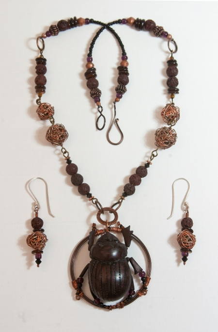 Dung Beetle necklace set