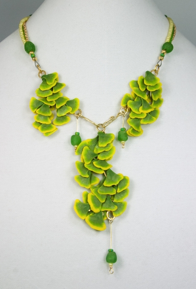Ginkgo-Rims of Gold necklace