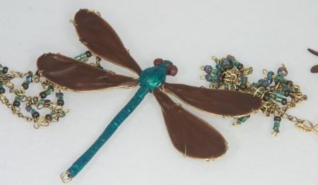 Ebony Jewelwing damselfly necklace