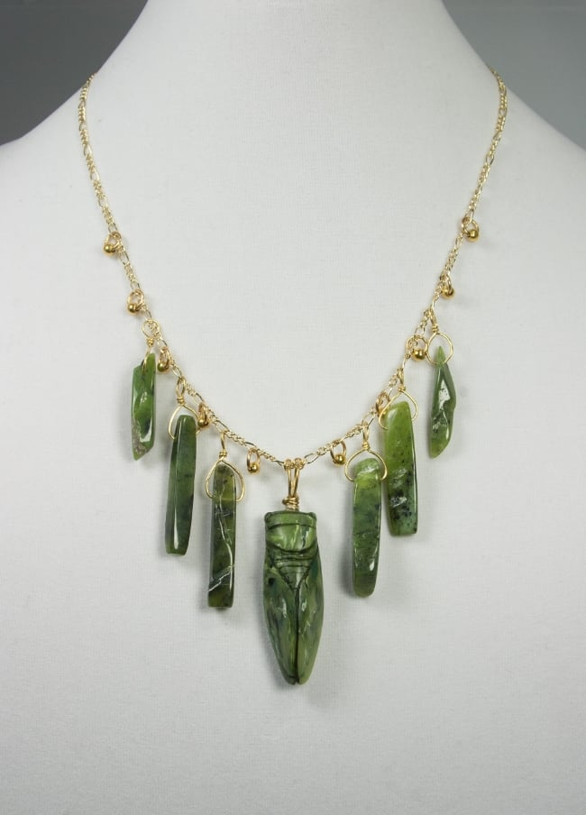 """Jade"" cicada necklace"