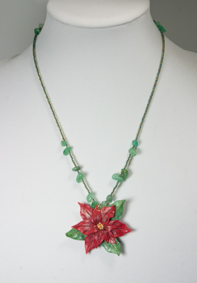 Red Pointsettia pendant 2