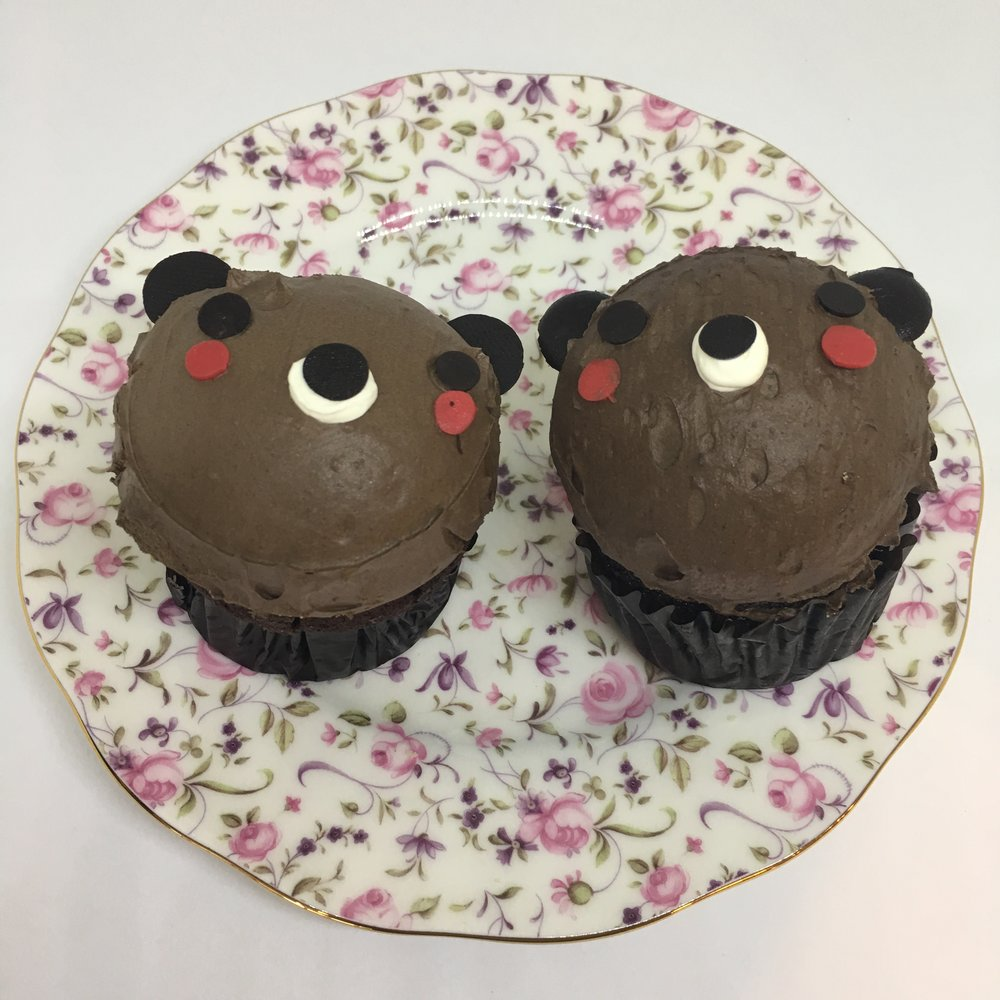 BEAR CHOCOLATE CUPCAKE with chocolate butter cream topping  (available at Kam Shopping Center location only)