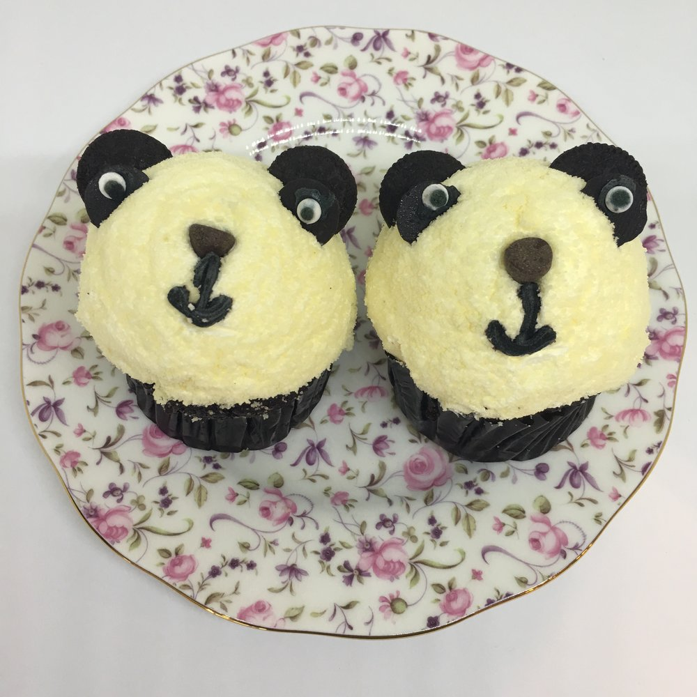 PANDA CHOCOLATE CUPCAKE with butter cream topping (available at Kam Shopping Center location only)