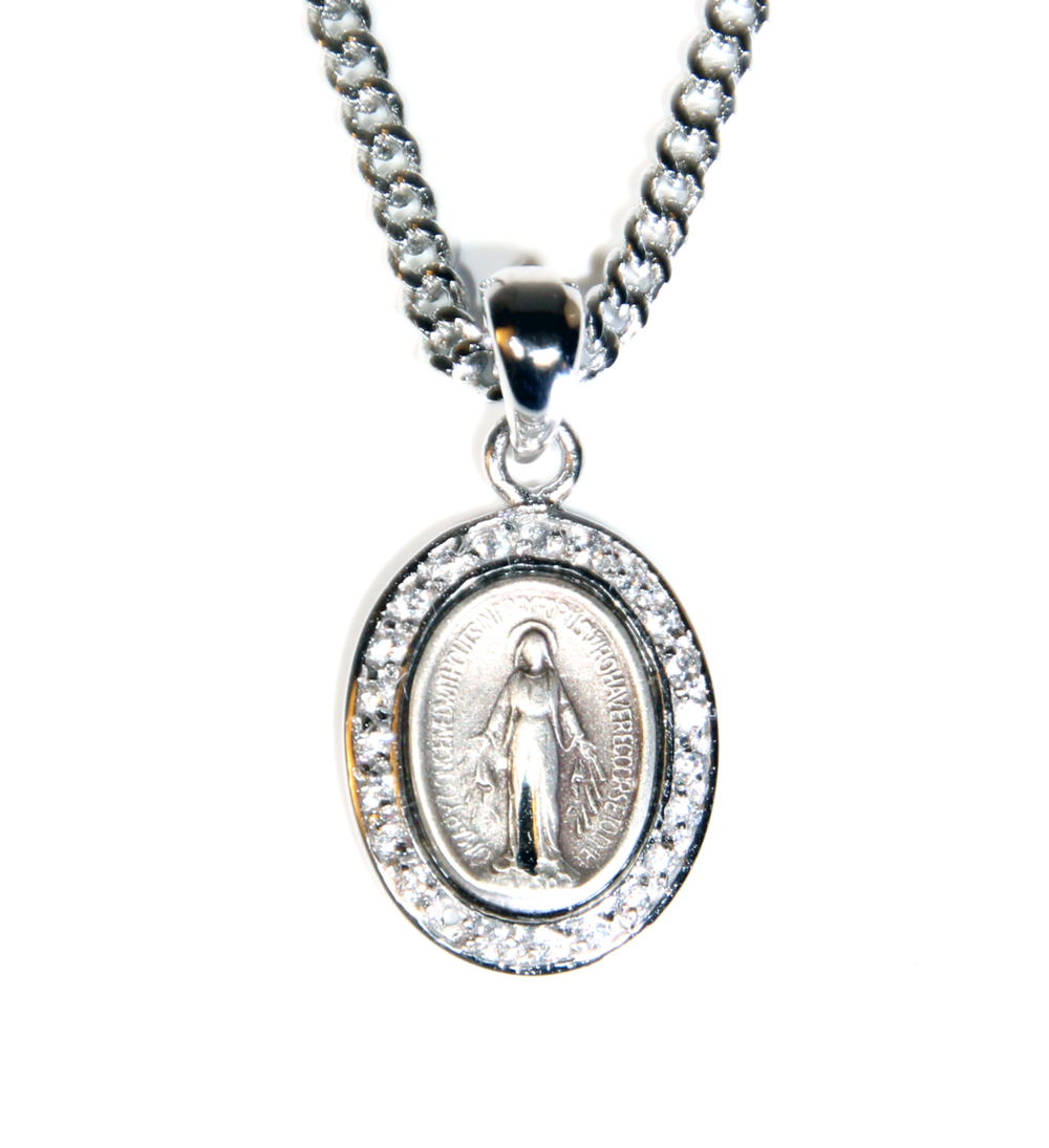 Oval Miraculous Medal With Cubic Zirconia Catholic Sacramentals