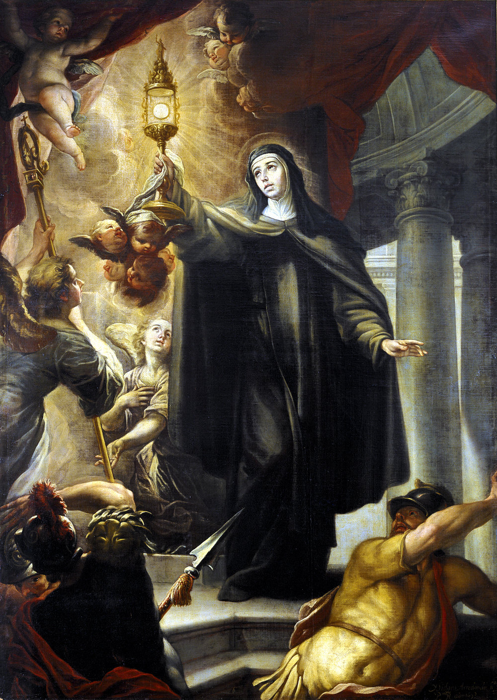 St. Clare scaring the infidels with the Eucharist.