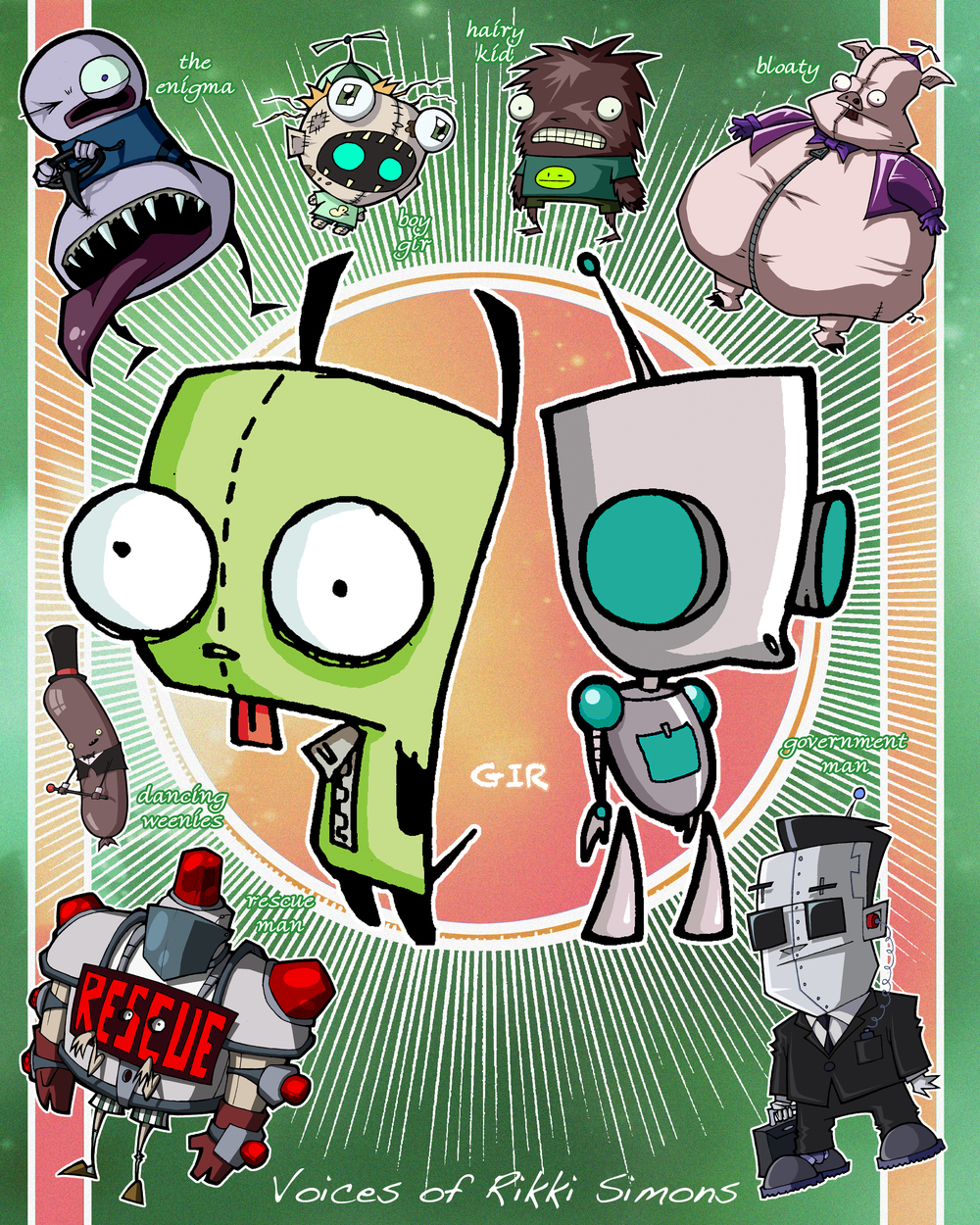 Rikki is the Voice of GIR and Bloaty and a host of Invader ZIM characters.
