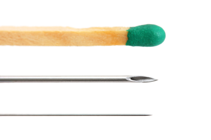 An acupuncture needle is about the size of a cat's whisker