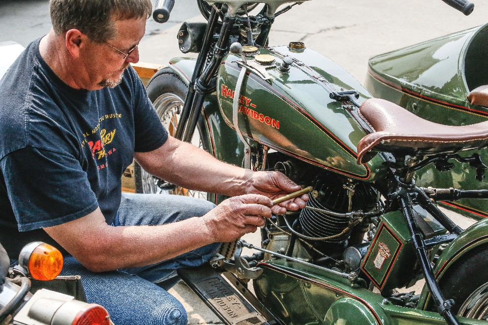 Bill Cullen shows his restored 1925 Harley-Davidson motorcycle, which he'll be selling to the Denver Police Museum, next week.Rick Abbott / The Forum