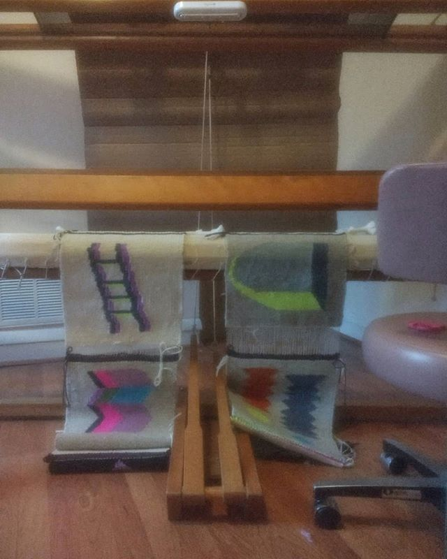 "not first and not last in a series called ""i did this to myself""-- tapestries woven and unrolled before i had to pack up the very big loom before moving. . i'm struggling to get my studio back together, y'all. . #tapestry #modernweaving #handmadehome #studioview #ontheloom #mycameraisbadokay"