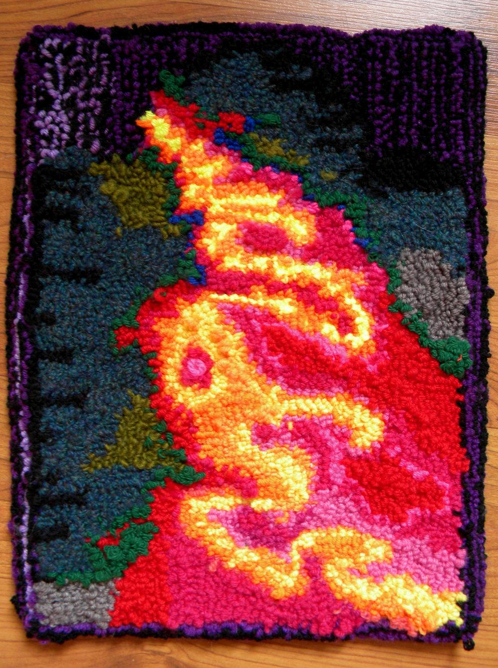 "Punch needle tufted rug, 12"" x 16"""