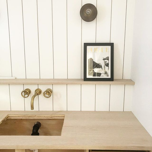 Sneak peek of an almost complete powder room at our canyon project . . . . #powderroom #interiordesign #remodel #bathroomremodel #shiplap #brass