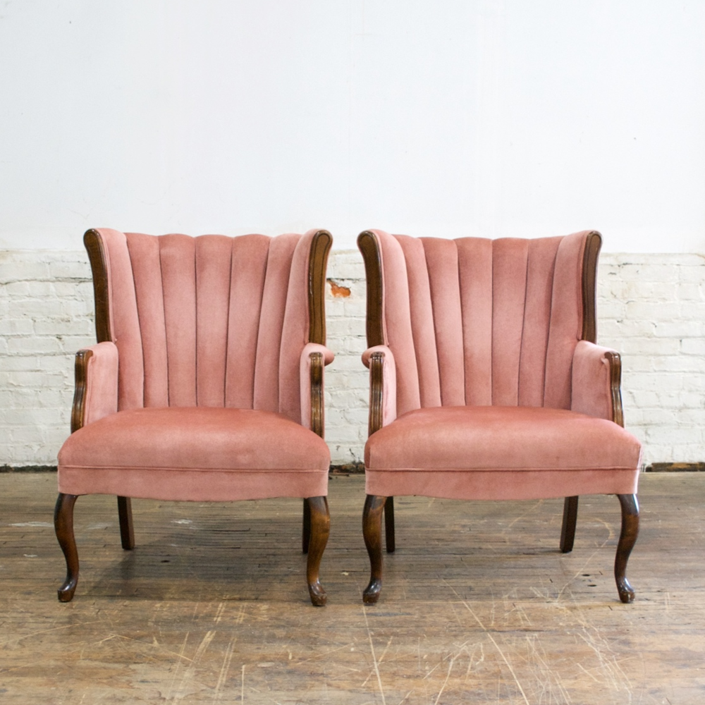 "Pink Channel Back Chairs  27""wide 27""deep 36""high"