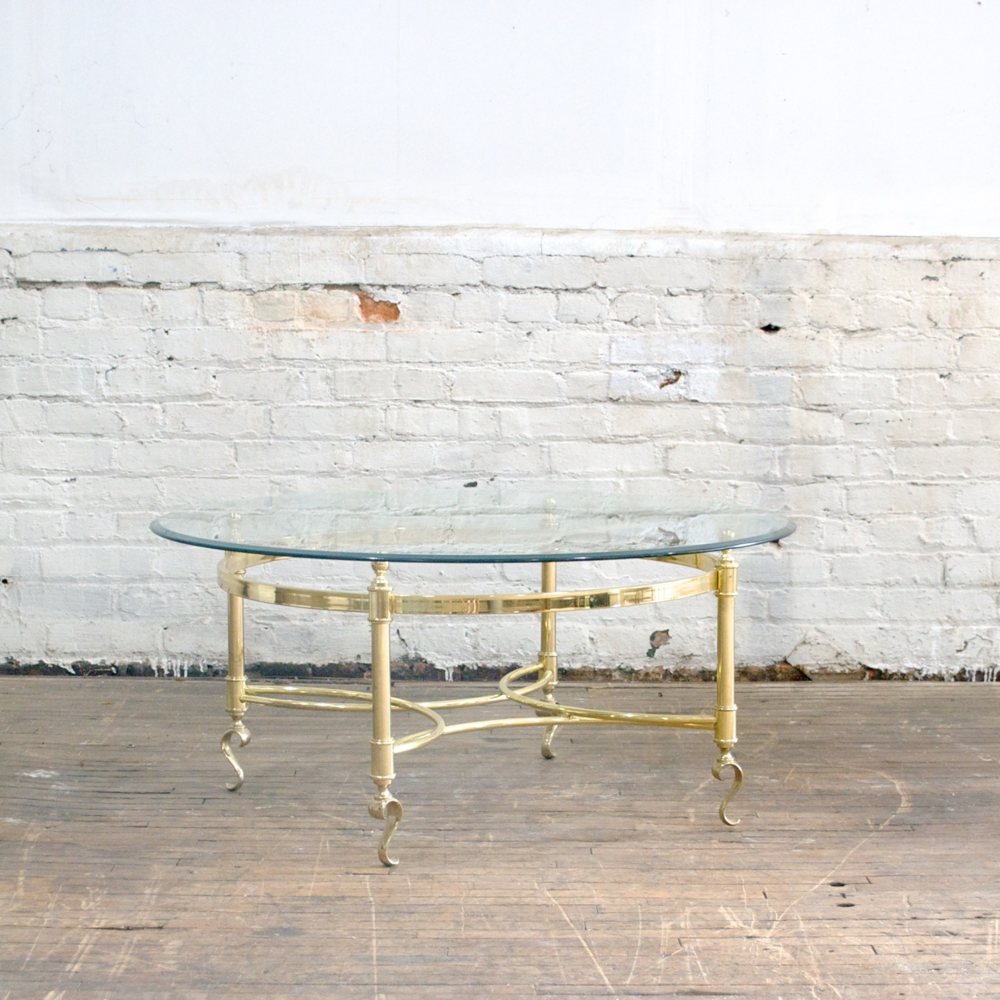 "Brass and Glass Coffee Table  38"" diameter, 17 1/2""high"
