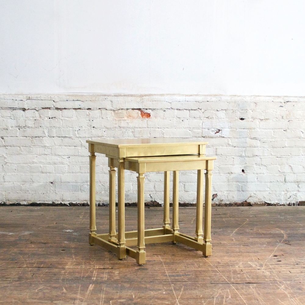 "Gold Nesting Tables 22""wide, 17""deep, 24""high"