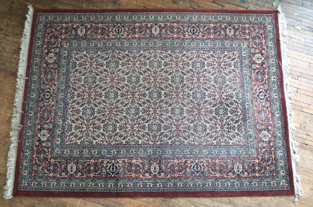Burgundy and blue area Rug (8 x 5)