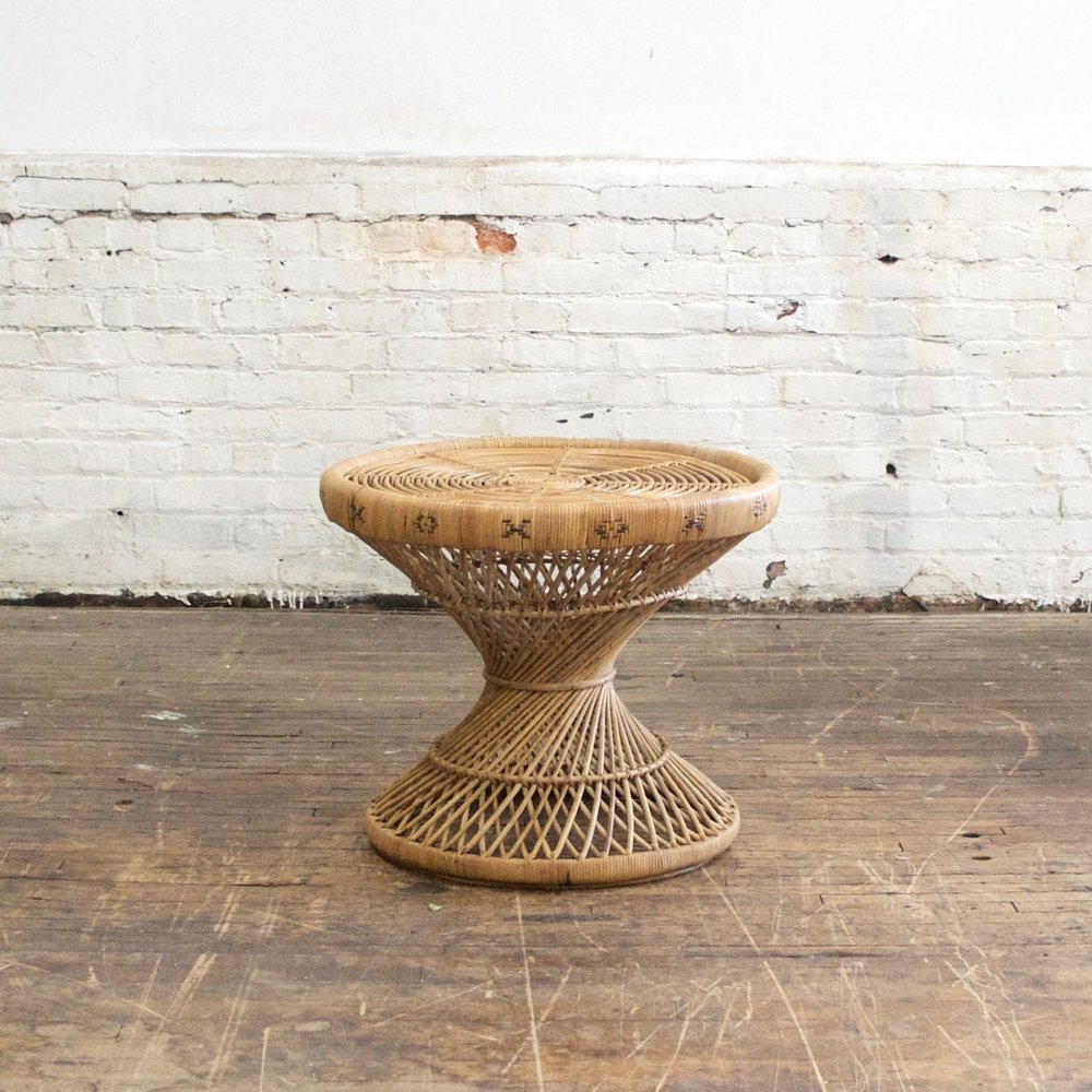 "Boho Rattan Side table    $38    24""across, 20""h"