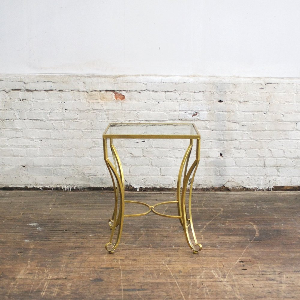 "Gold Square Top Table    $48    20"" w, 20""d, 25""h"