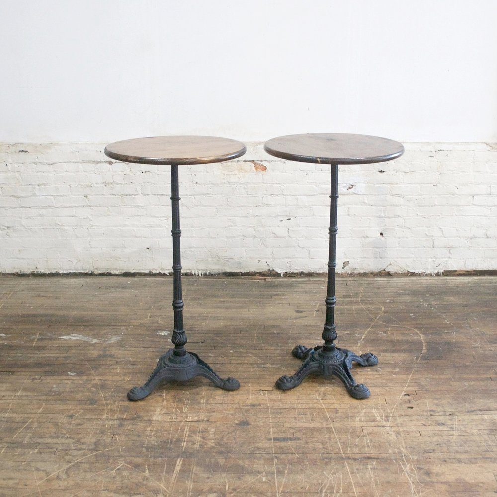 "Solomon Cocktail Tables    $60 each 6 available    24"" across 44""h"