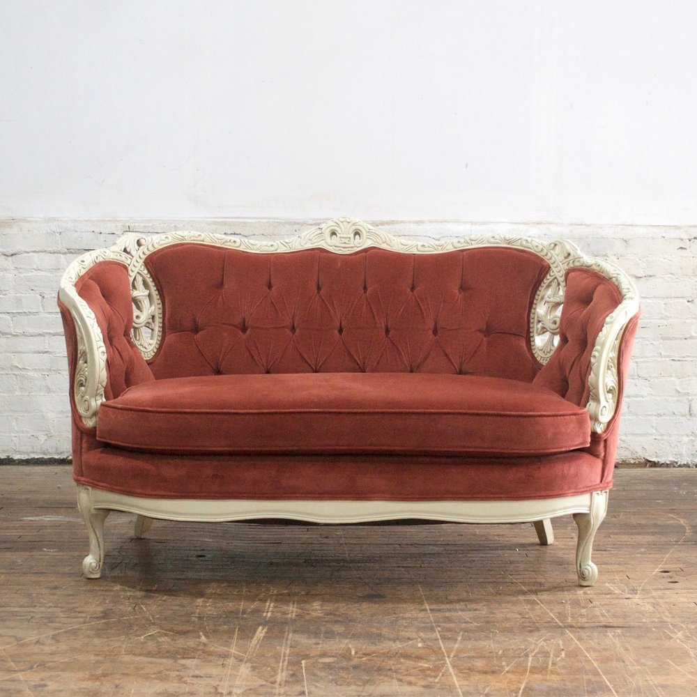 "Cinnamon Settee  4'6"" wide 34""deep 34"" high"