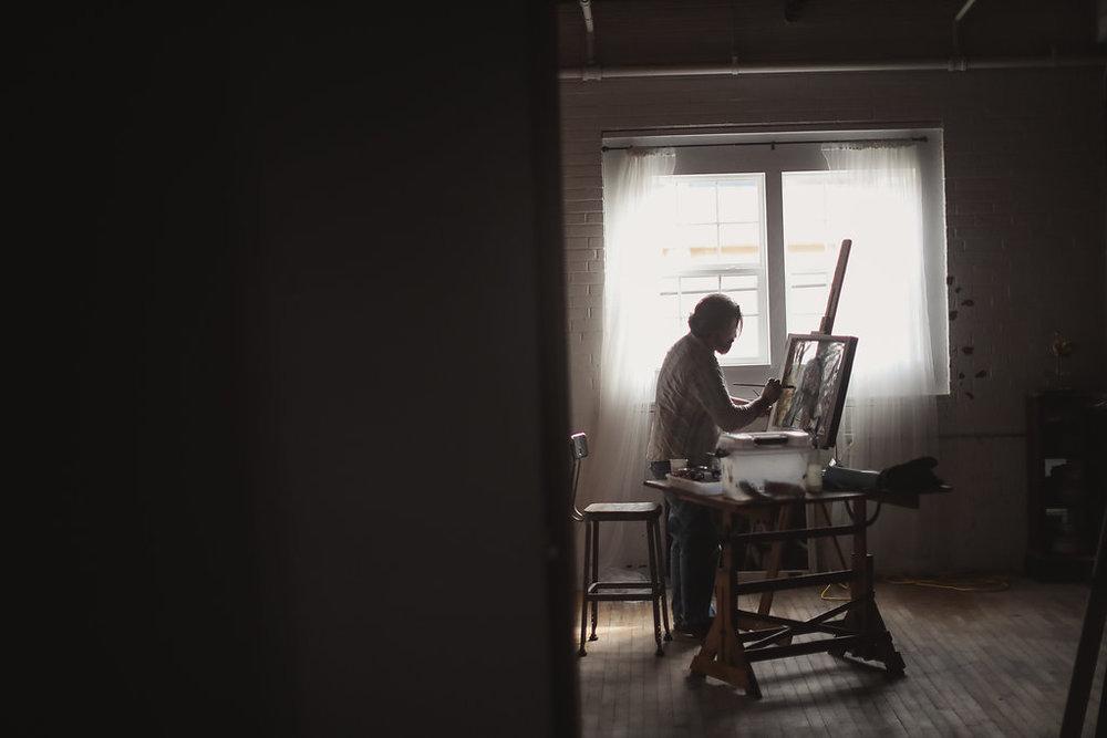 Artist Ward Van Haute of Bethlehem House Gallery captured in action