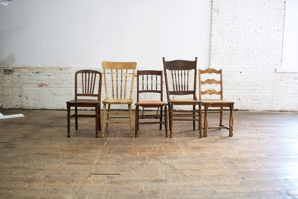 Mismatched Natural Wood Chairs